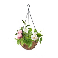 Green Black Coconut Fiber Flower Hanging Basket Decorative Basket 14 Inches