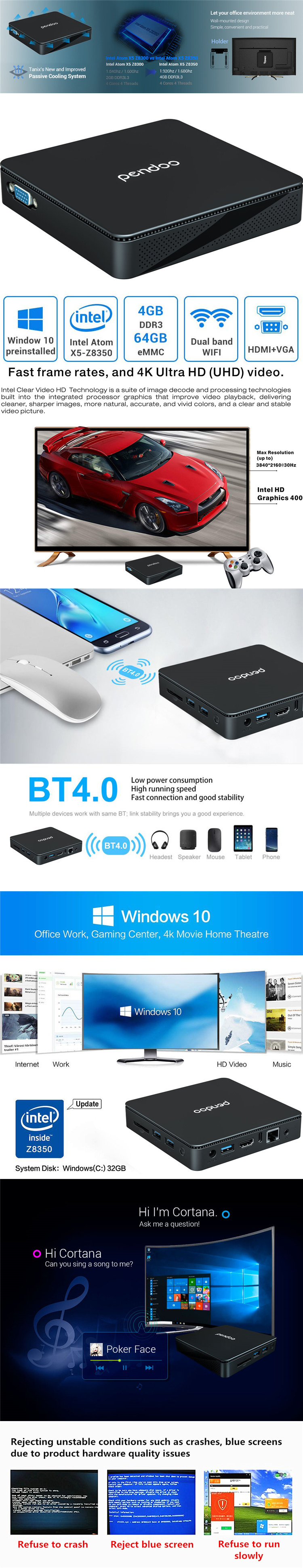 pendoo tx85 All in one mini PC Intel Z8350 4gb 64gb portable tablet WIN 10 desktop computer MINI PC