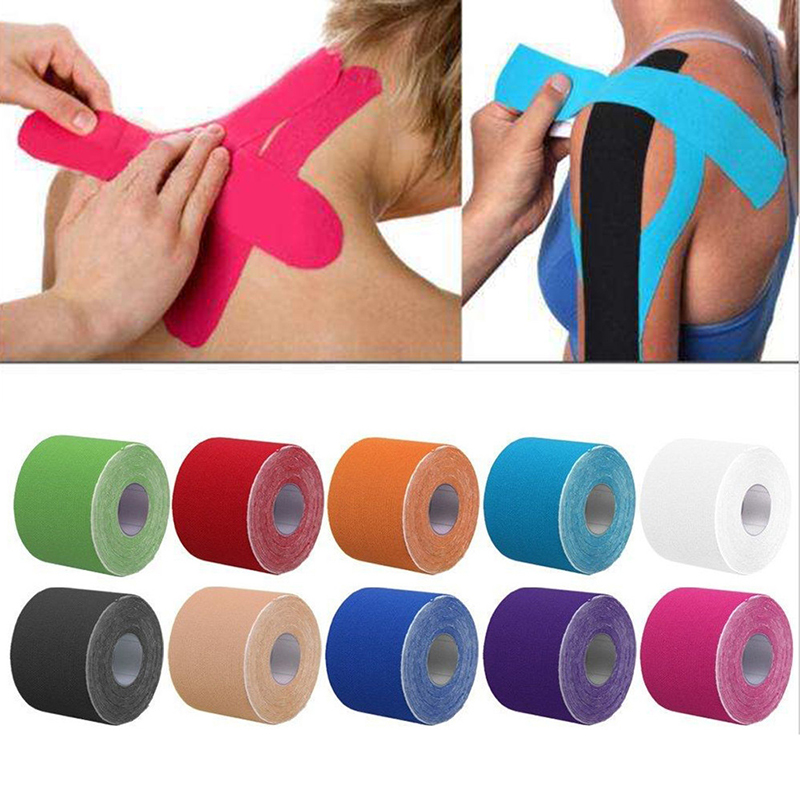 2 maten Kinesiologie Tape Athletic Tape Sport Herstel Tape Strapping Gym Fitness Tennis Running Knie Spier Protector ScissorM20