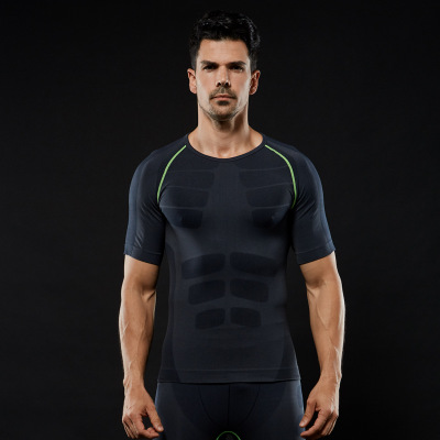Wholesale Quick-Dry Slimming Men's Short Sleeve Sports Wear T-shirt Dry Fit Running Shirt 4