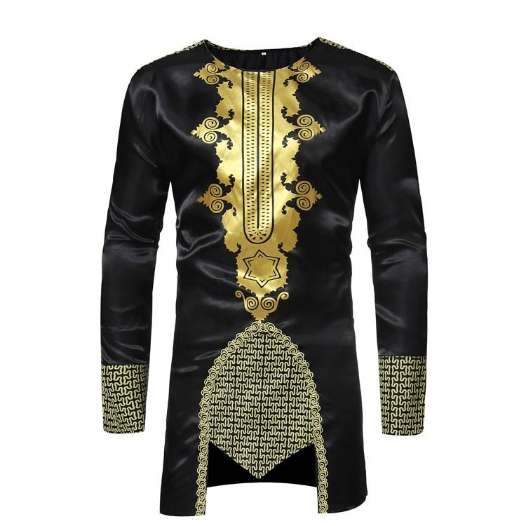 Hot sale men polyester cotton long sleeve black print african clothing dashiki t shirt