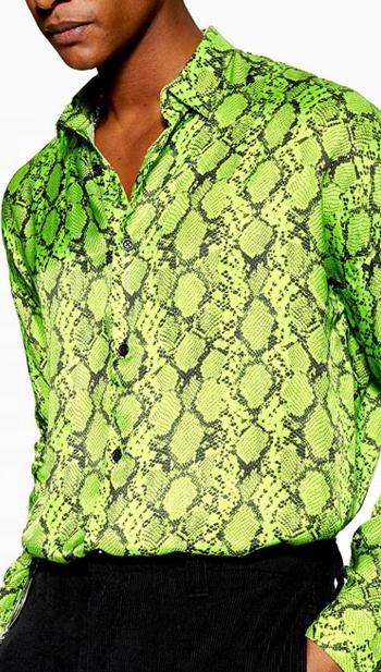 قمصان رجالية صيفية بنمط الثعبان, قمصان رجالية صيفية مطبوع عليها ثعبان باللون الأخضر بأكمام طويلة