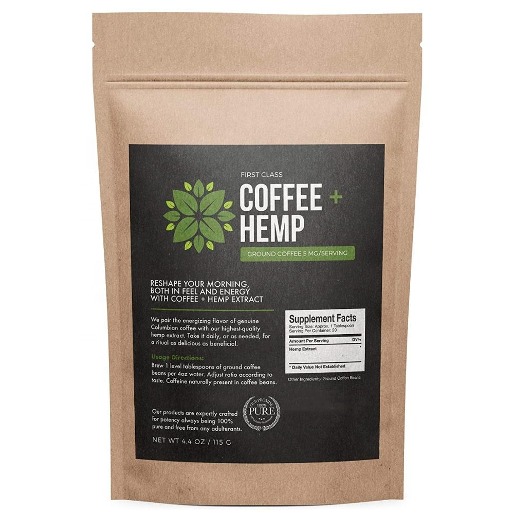 OEM packaging 100g/bag cbd infused coffee with 100mg water soluble cbd <strong>powder</strong>