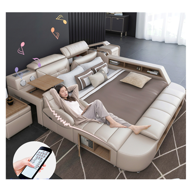 CBMMART modern luxury multifunctional bedroom furniture white double leather bed and living room sofas