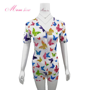 2020 NEW Butterfly print V-neck spajamashort sleeve night wear sexy dress Womens Adult Pajamas