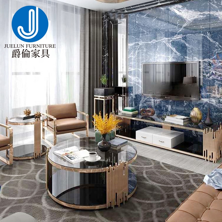 Free sample home living room furniture round metal stainless steel no folded glass gold coffee table