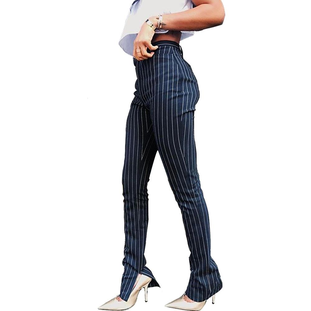 Pantalones Tipo Cardigan Para Mujer Pantalon A Rayas De Estilo Marino De Cintura Alta Pantalones Largos Ajustados Con Dobladillo Dividido Ropa De Oficina 8291 Buy Pantalones Deportivos De Cintura Alta A La Moda Elegantes Pantalones De Cintura
