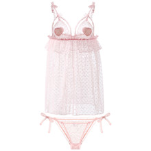 Женское сексуальное ночное платье, летняя розовая марлевая ночная рубашка с глубоким v-образным вырезом, женская ночная рубашка в горошек(Китай)