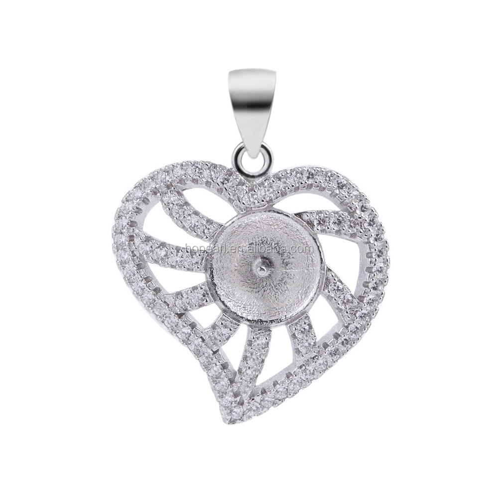 SSP249 DIY Jewelry Gift 925 Sterling Silver Heart Pendant Pave Cubic Zirconia Pearl Pendant Findings