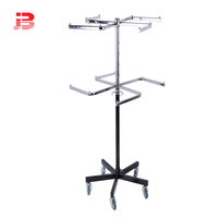Adjustable height 2 tiers rolling clothes display rack