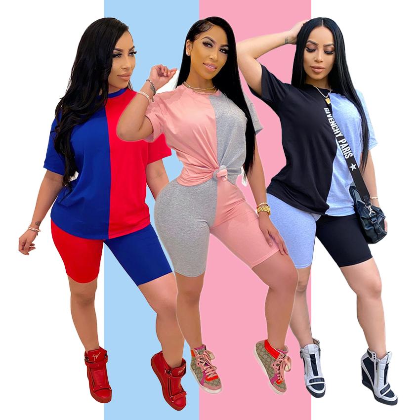 Sıcak satış bayanlar pamuk kıyafetler 2 iki parçalı Joggers kısa Set kadın giyim yaz seksi 2020
