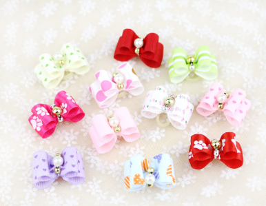 Hot Selling Double Layer Dots Printed Dog Hair Bows Rabbit Cat Dog Grooming bows