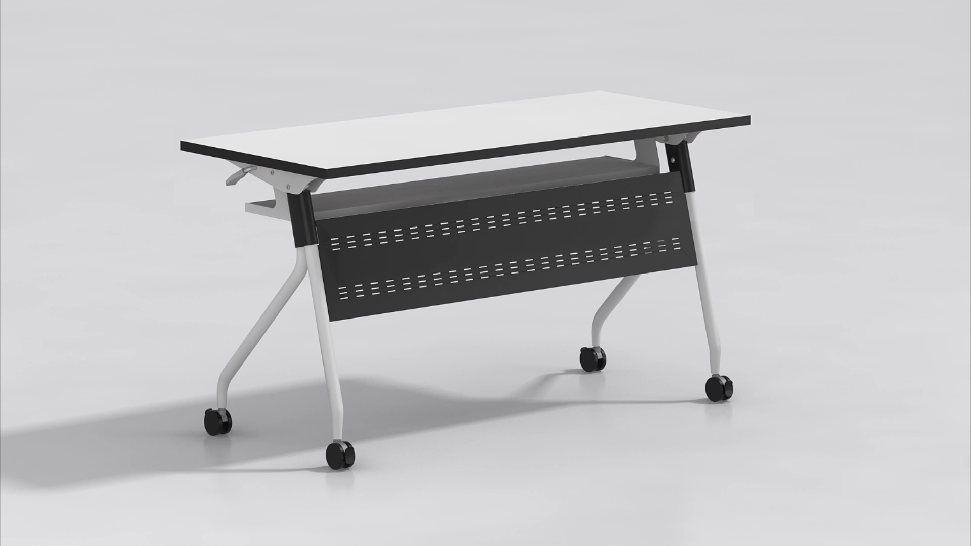 OEM design  metal frame folding study computer desk table with movable wheels