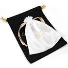 Soft solid satin dust satin bags silk drawstring bag custom logo pouch for gift jewelry