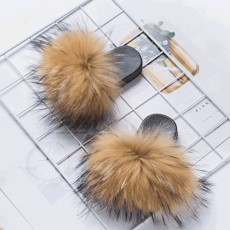 USA wholesale kids fur slides and fur slippers soft fox racoon white for women and toddler baby, Black, beige, pink, brown, gray etc