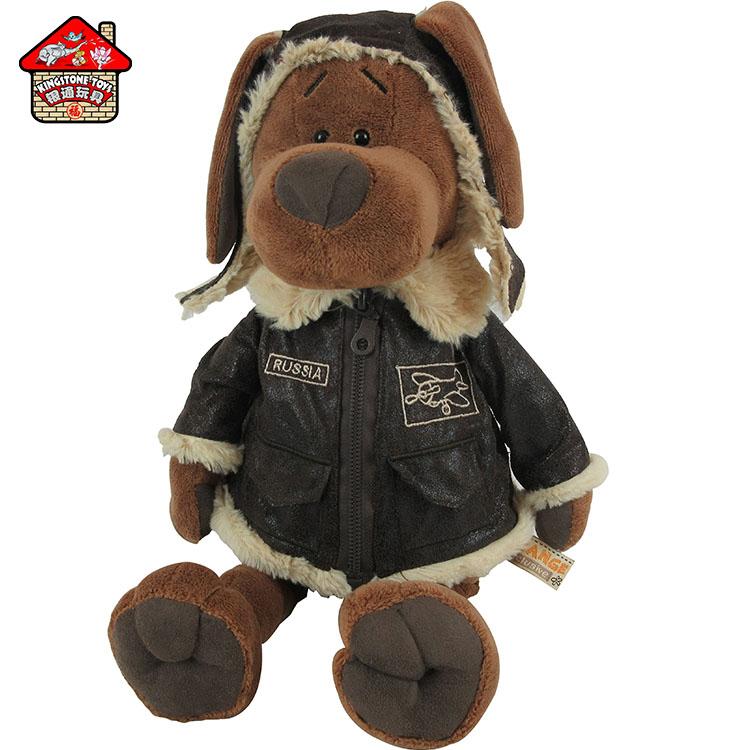 Custom logo pilot plush bear animal toys with uniform /captain bear doll toy