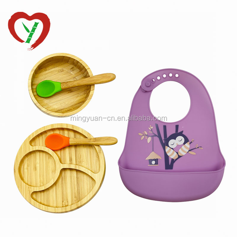 Bamboo Baby Feeding Bowl With  Suction And Spoon Set