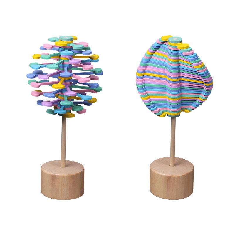 Gỗ đầy màu sắc xoay thanh giải nén đồ chơi sáng tạo kẹo mút văn phòng giải nén trò chơi tâm trạng tinh chỉnh đồ chơi trẻ em món quà