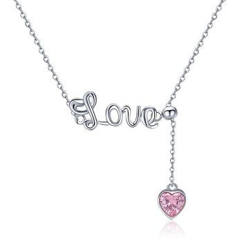 Gifts For Valentine's Day Women Elegant  925 Sterling Silver Jewelry Love Letter Small Zircon Pink Heart Pendant Necklace