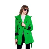 New design autumn winter women girls long sleeve lapel double-breasted button trench coat fashion woolen long coats