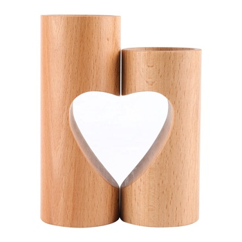 Set of 2 Wedding Decor Home Decor Heart-shaped Romantic Cute Decorative Wood Tea Light Candle Holders
