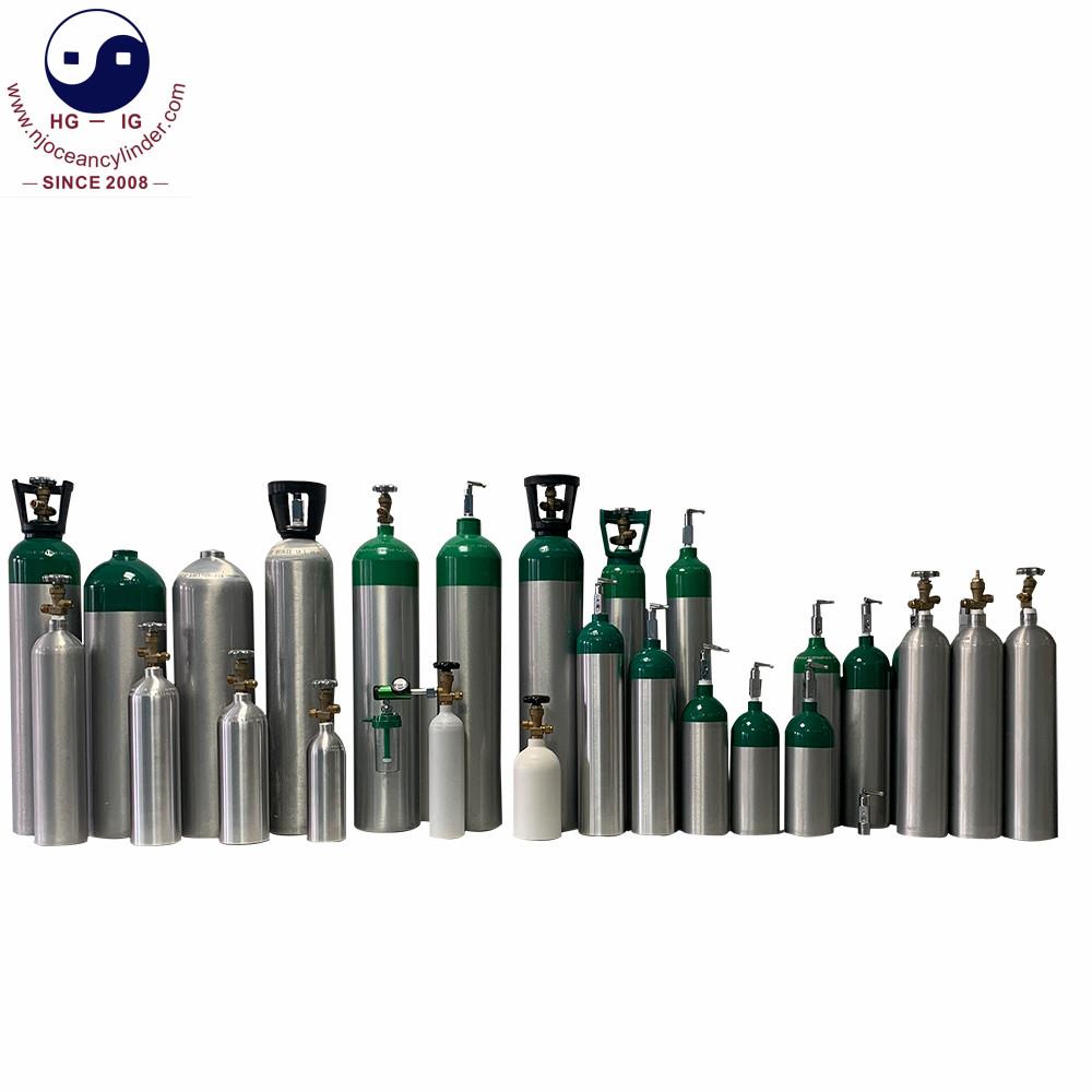 ISO7866 0.3L-30L Alloy6061 алюминиевый Портативный Медицинский кислородный газовый баллон для продажи