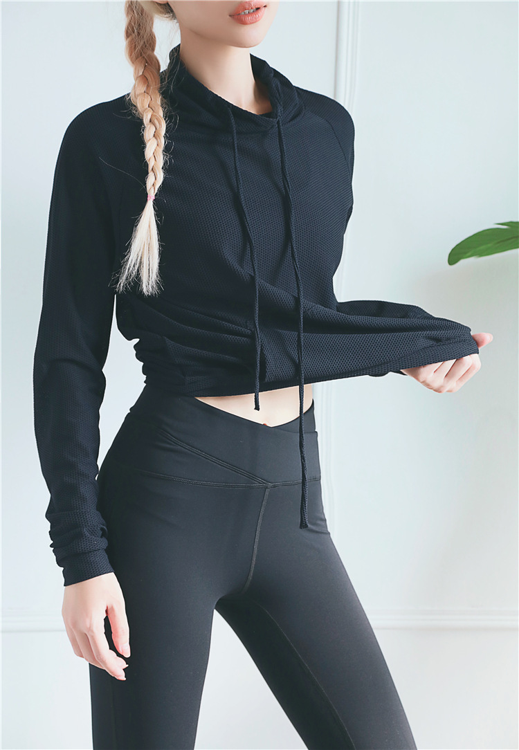 Mesh design breathable fitness yoga wear women high collar drawstring pocket sports running quick-drying clothes 17