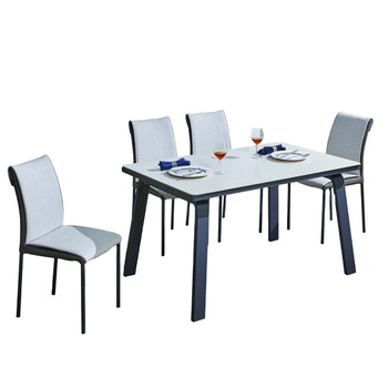 new product dining room furniture rectangular Metal dining table set 8 seater modern