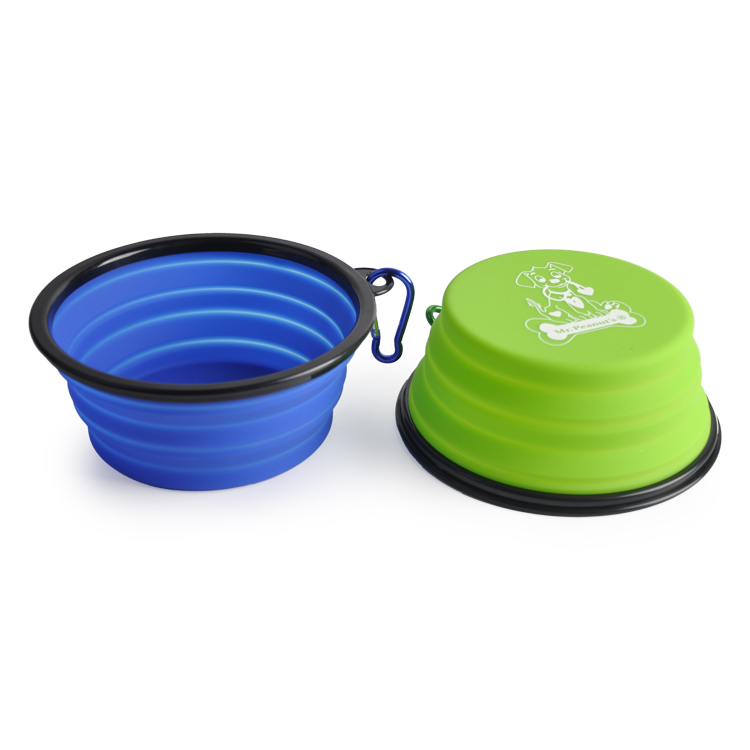 New design  silicone large size portable travel collapsible dog pet travel  bowl with carabiner