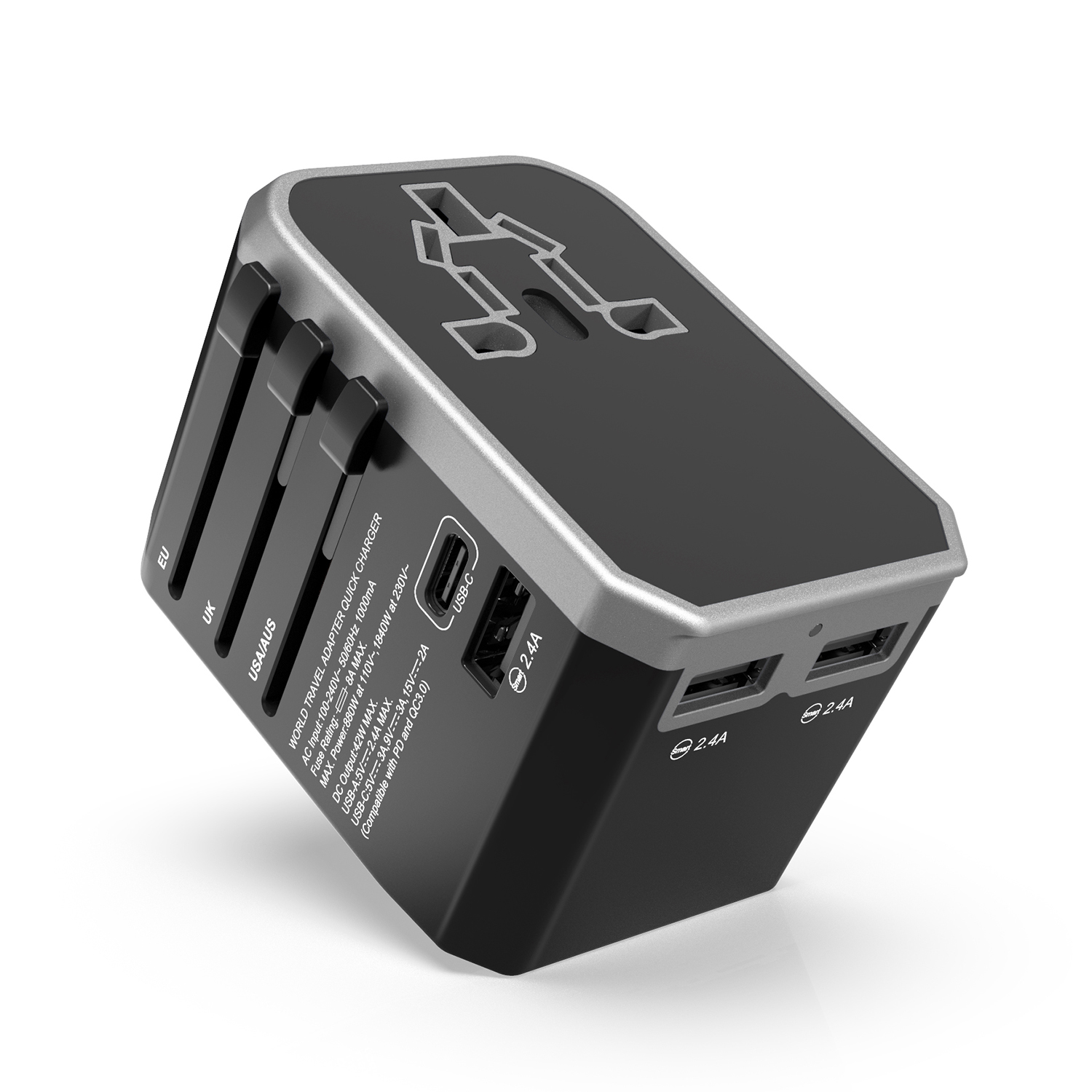 Hot groothandel universele reislader met EU AUS UK US plug 42 W PD usb wall charger