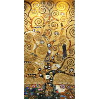 Famous Klimt Painting Tree of Life Handmade Tiles Glass Mosaic Art Wall Tiles Mural for Home