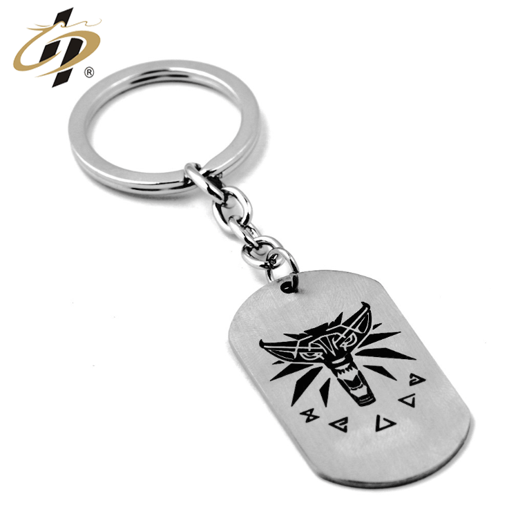 Wholesale stainless steel custom black enamel metal dog tag keyrings