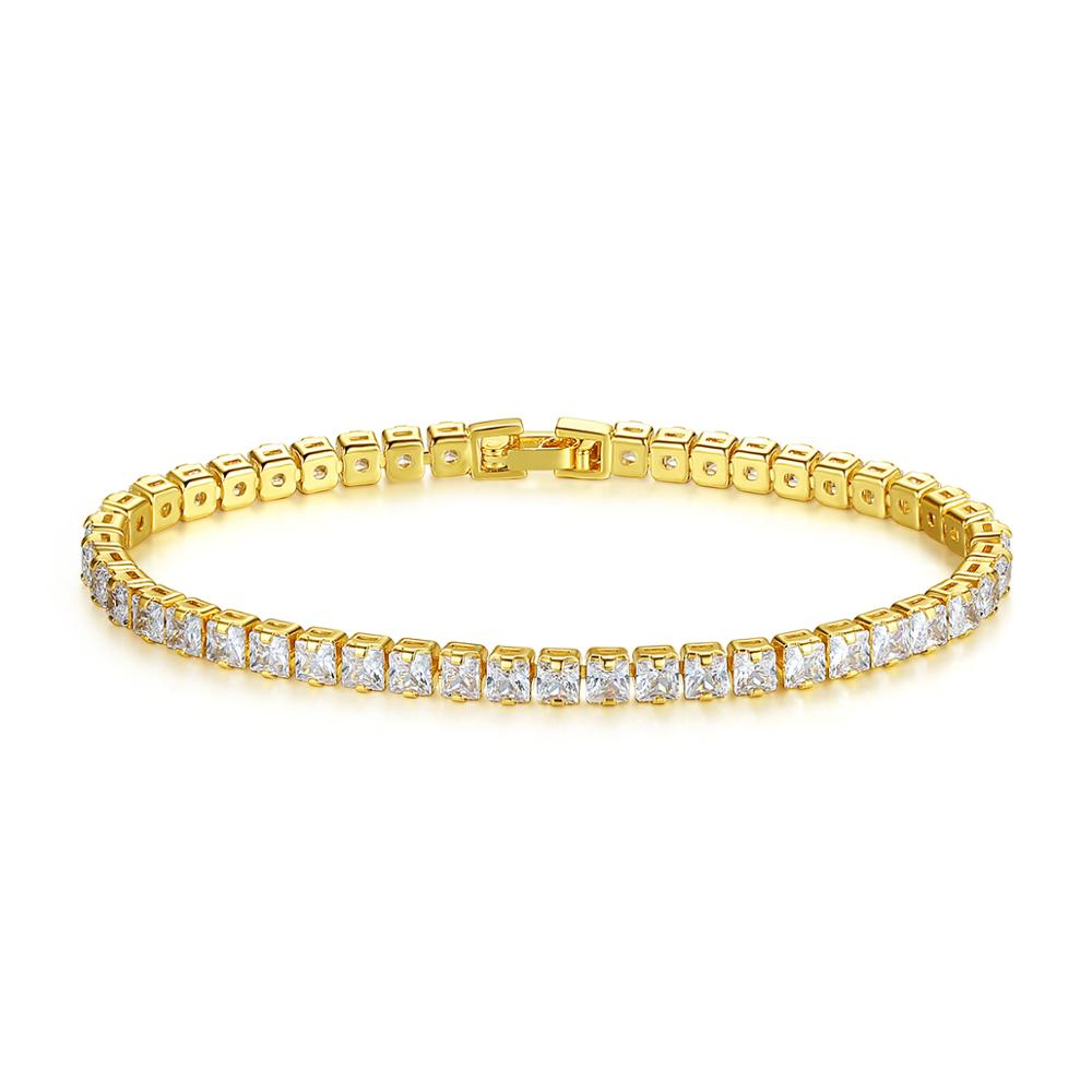 LUOTEEM Fashion 3mm Square Cut Tennis Bracelet Clear CZ Stone Real Gold Plating Women Jewelry