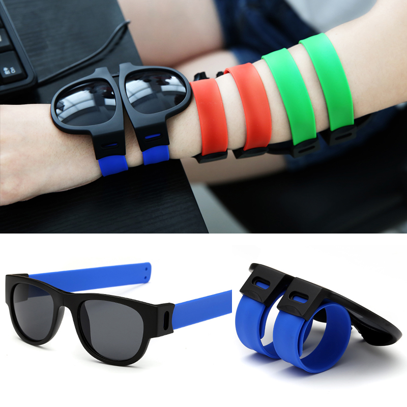 Fashion Slap Polarized Sunglasses Womens Wrist Bracelets Collapsible Glasses Men