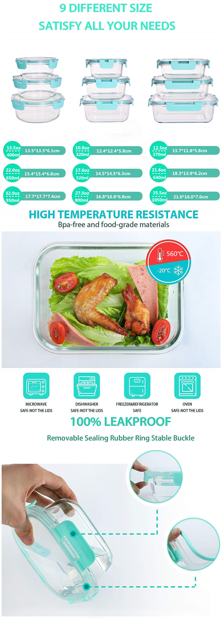 High borosilicate glass storage food container with snap lock lid