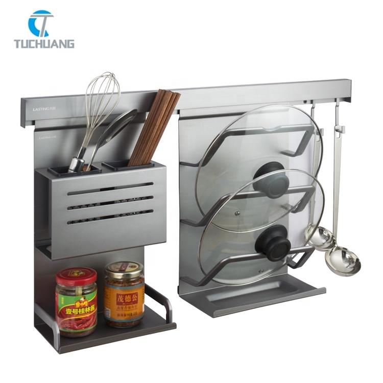 Multifunctional Kitchen knife pot cover Rack Aluminum hanging seasoning bottle chopsticks holder Wall Mounted Knife Rack