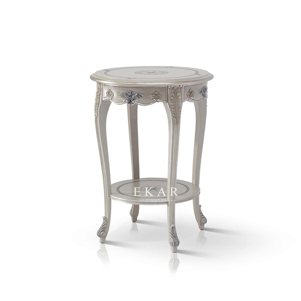 קלאסי סלון מגולף אפור עגול עץ צד שולחן