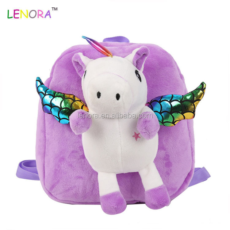 Manufacturers direct sale 2019 new children plush toys small schoolbag cute kids cartoon unicorn mini backpack plush toy