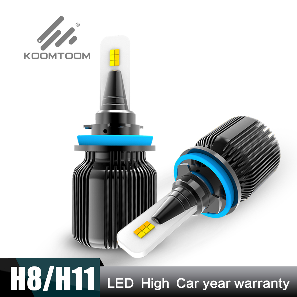2020 KOOMTOOM H11 H8 H9 H16 LED Fog Light Bulbs 6500K New Design 4000 Lm White Fog Lights Bulbs Lamp Super Bright DRL (Set of 2)