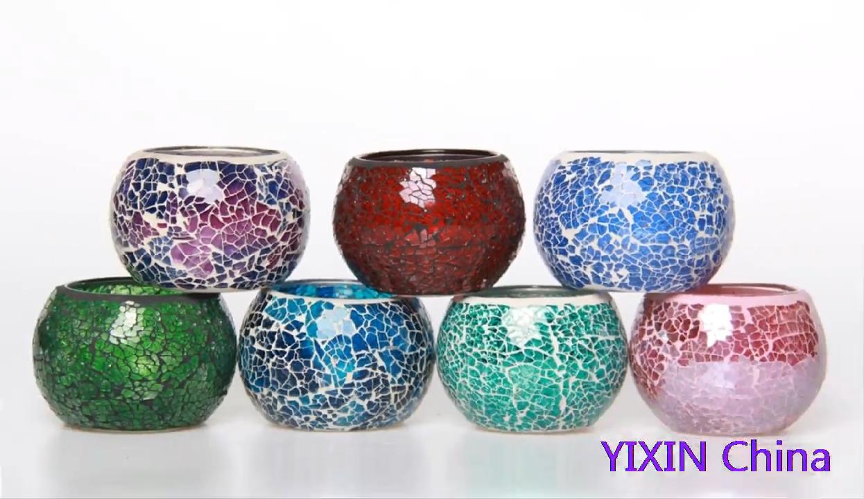 Clásico hecho a mano de vidrio pieza con incrustaciones artesanía mosaico vela titular vela centro de mesa vela iluminación de la decoración del hogar