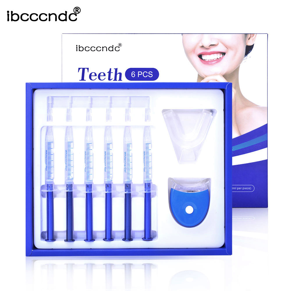 Ibcccndc teeth whitening gel with LED lights container case DIY Yellow tooth removal home use whitening teeth tools 6pcs/set