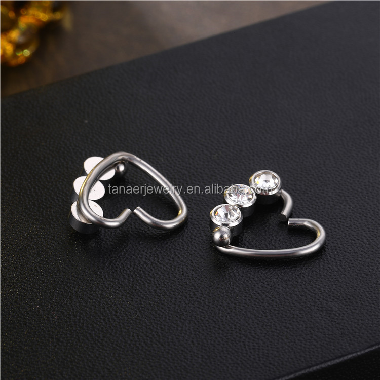 Manufacturer Fashion Jewelry CZ Crystal Heart Hoop Daith Tragus Helix Conch Piercing Earrings Nose Ring Body jewelry