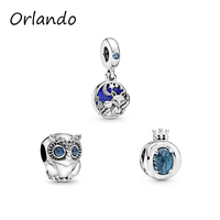 925 sterling Silver Sparkling Owl Charms beads Bracelets fit women Jewelry