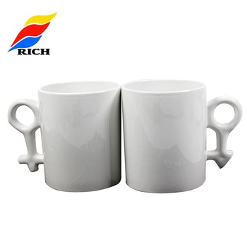 11OZ white sublimation Couple Lover milk mugs white coated for heat transfer