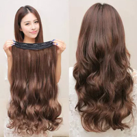 Cheap lady five clips human hair wig synthetic fiber wig hair piece