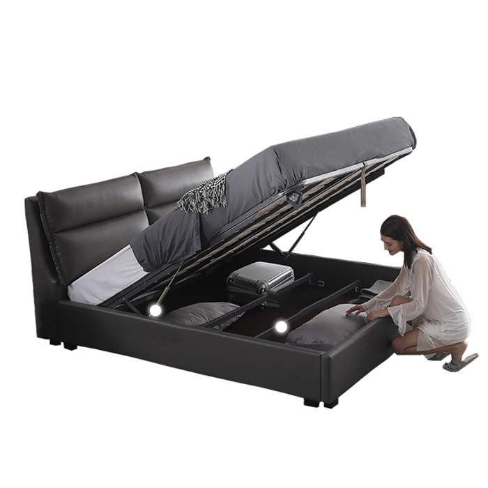 Modern style space saving furniture black king size leather <strong>bed</strong> with storage