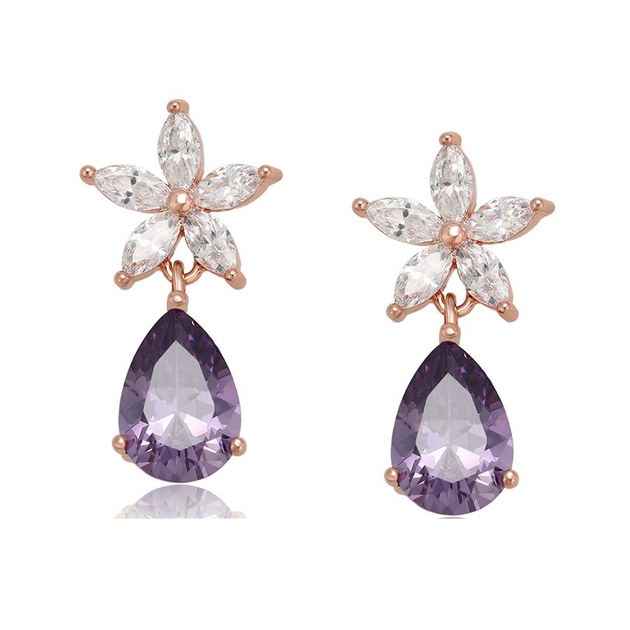 99326 Xuping new design gold plated fashion custom diamond drop stud earrings for girls
