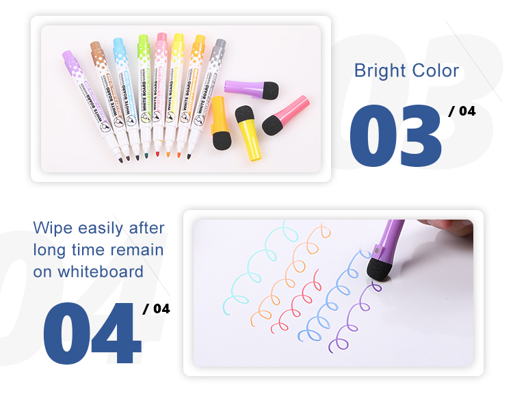 Custom Muti-color dry erase whiteboard marker set with magnet and eraser