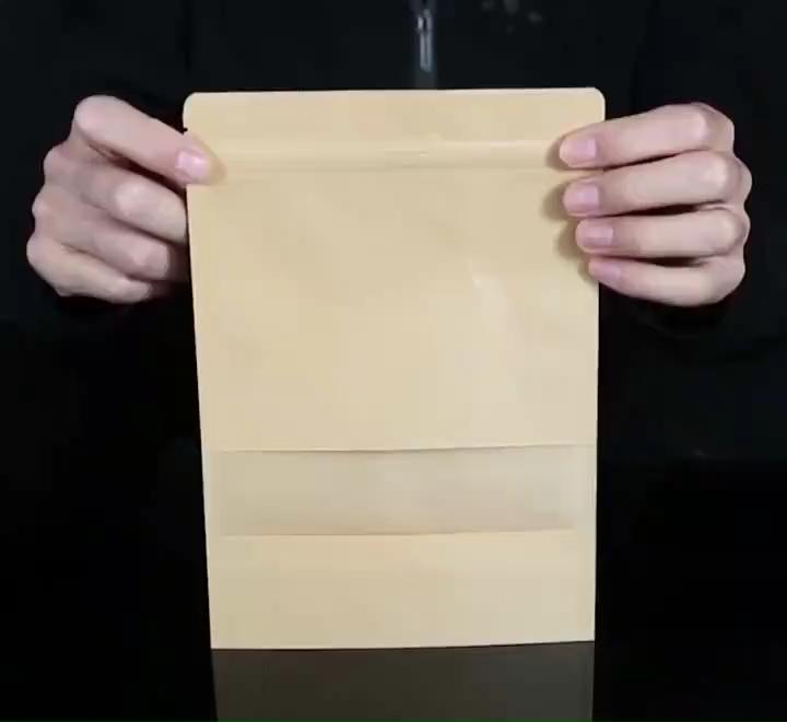 Doypack на молнии крафт-стоьте вверх мешок кофейных зерен с окном многоразовые герметичные пакеты для хранения продуктов для орехов и печенья упаковка