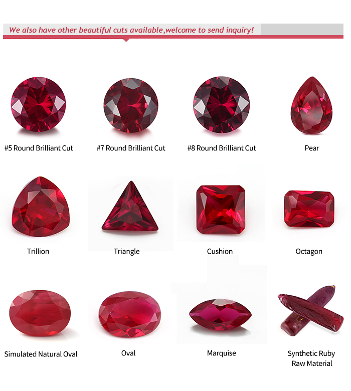 5# Round Brilliant Cut Synthetic Red Corundum Lab Created Ruby Loose Gemstones for Jewelry Accessories